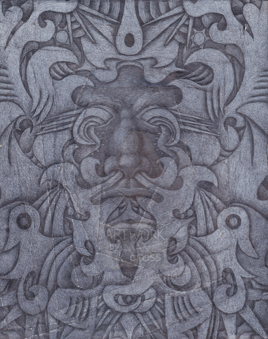 "The ""bloodsuck"" variant of the traditional Green Man image, with abstract patterns in the place of foliage"