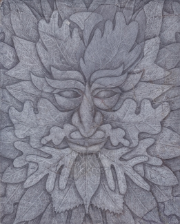 "A traditional Green Man image, ""foliate"" variant"