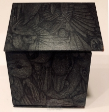 A birdhouse with several birds drawn on it